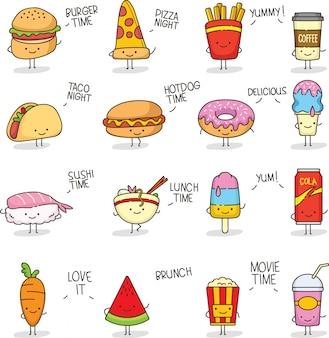 Słodkie jedzenie doodle kawaii