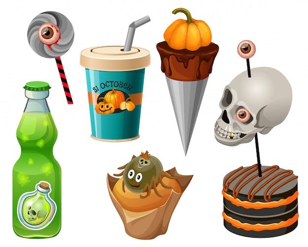 Słodkie jedzenie na halloween. impreza z zombie.