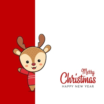 Słodkie jelenie pozdrowienie wesołych świąt i szczęśliwego nowego roku kreskówka doodle tło karty