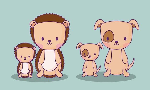 Słodkie jeże i psy na niebieskim tle, kolorowy design. ilustracji wektorowych