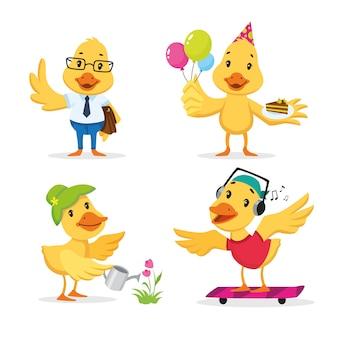 Słodkie kaczątko ciesząc się różnymi akcjami. zestaw znaków kreskówek.