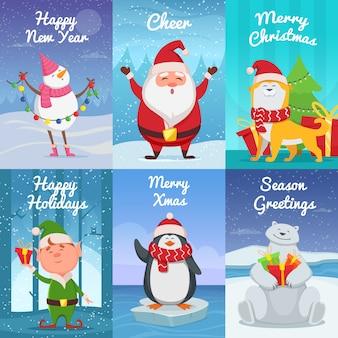 Słodkie kartki świąteczne z zabawnymi postaciami.