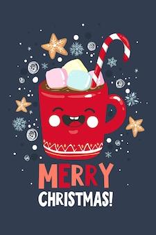 Słodkie kartki z życzeniami wesołych świąt i szczęśliwego nowego roku. ręcznie rysowane szablon plakat wakacje, projekt pocztówki. ilustracja wektorowa eps 10.