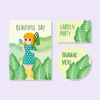 Słodkie karty dzieci zaproszenie dzięki karty chłopiec dziewczyna wyciągnąć rękę