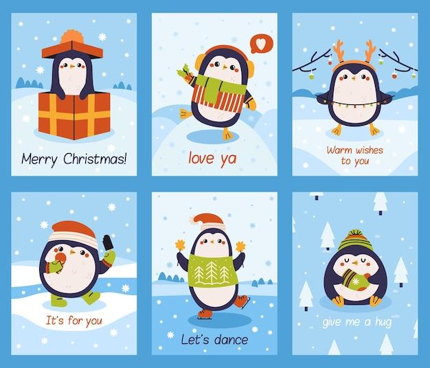Słodkie karty pingwina. boże narodzenie plakaty maskotki pingwina, ferie zimowe piękne pingwiny karty wektor zestaw ilustracji. małe karty pingwinów