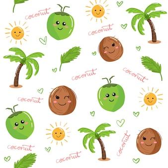 Słodkie kawaii owoce kokosowe i palmy doodle bezszwowe tło wektor wzór.