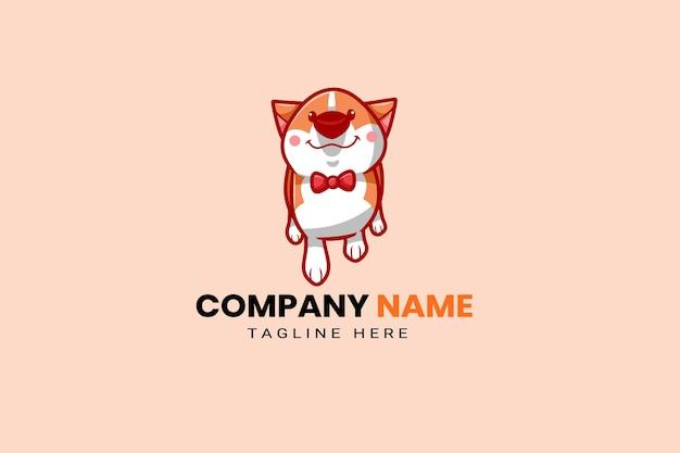 Słodkie kawaii szczeniak maskotka kreskówka logo szablon projektu ikona ilustracja ręcznie rysowane