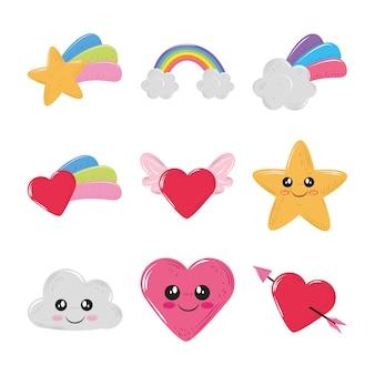 Słodkie kawaii tęczowe gwiazdy serce chmury dekoracji ikony