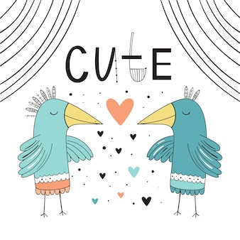 Słodkie, kochające ptaki