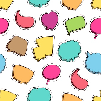 Słodkie kolorowe mowy pęcherzyki wzór z stylu bazgroły