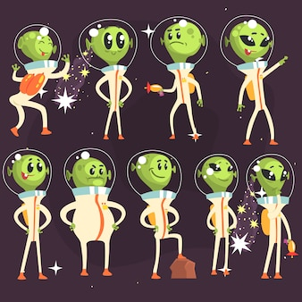 Słodkie kosmici w skafandrach kosmicznych