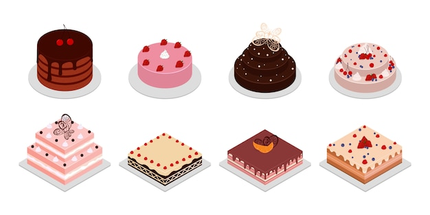 Słodkie kostki ciasta i galaretki. zestaw ikon widok izometryczny ze śmietaną, czekoladą, wiśnią i truskawką. pieczenie jedzenia, słodkie ciasta z kremem na przyjęcie urodzinowe.
