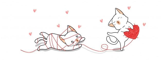 Słodkie koty bawią się miłością