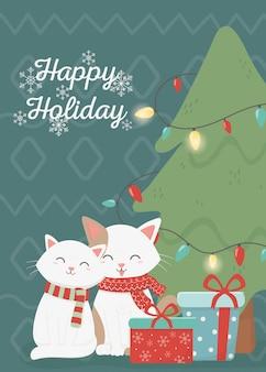 Słodkie koty celebracja szczęśliwy kartki świąteczne