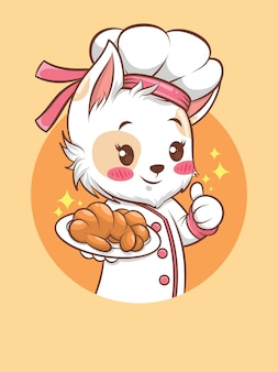 Słodkie koty dziewczyna kucharz trzyma chleb. koncepcja szefa kuchni piekarni. postać z kreskówki i ilustracja maskotka.
