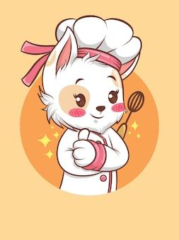 Słodkie koty dziewczyna kucharz trzyma mikser ręczny. koncepcja szefa kuchni piekarni. postać z kreskówki i ilustracja maskotka.