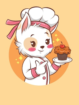 Słodkie koty dziewczyna kucharz trzyma tort. koncepcja szefa kuchni piekarni. postać z kreskówki i ilustracja maskotka.