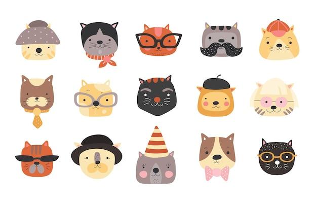 Słodkie koty głowy z akcesoriami, okularami, czapkami, muszką i czapką.