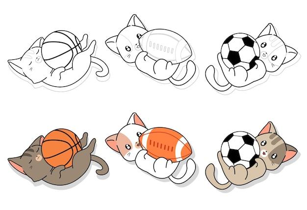 Słodkie koty i kreskówka sprzęt sportowy do kolorowania dla dzieci