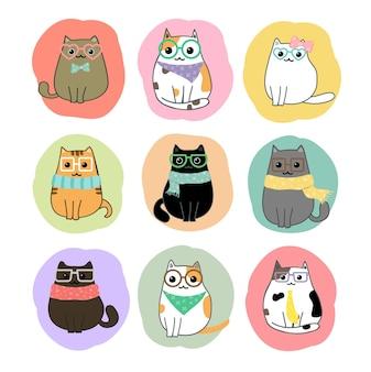 Słodkie koty kreskówka wektor zestaw