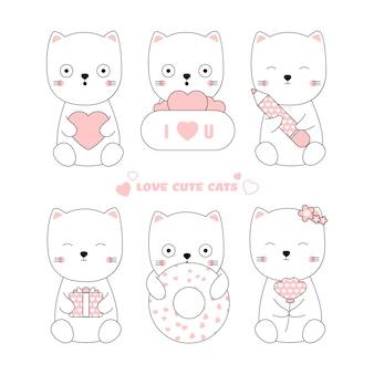 Słodkie koty ręcznie rysowane stylu zwierząt