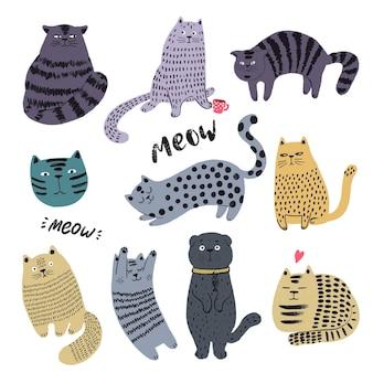 Słodkie koty ręcznie rysowane zestaw zabawny kotek znaków doodle ilustracja płaskie zwierzęta wektor ilustracja