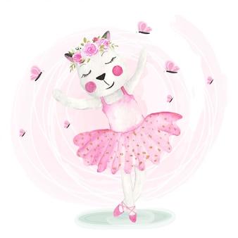 Słodkie koty tańczące z koronami kwiatów