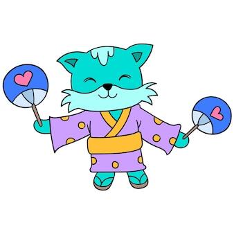 Słodkie koty ubrane w kimono w tradycyjne japońskie stroje świętują festiwal, ilustracja wektorowa sztuki. doodle ikona obrazu kawaii.