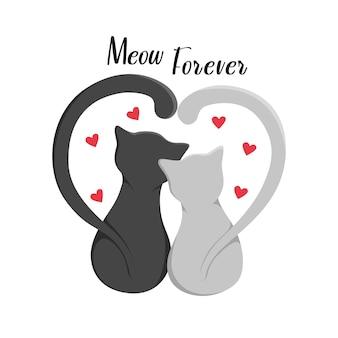 Słodkie koty wraz z napisem meow zawsze, na białym tle na białym tle. nadruk na ubrania, poduszki i kubki. ilustracja wektorowa eps10.