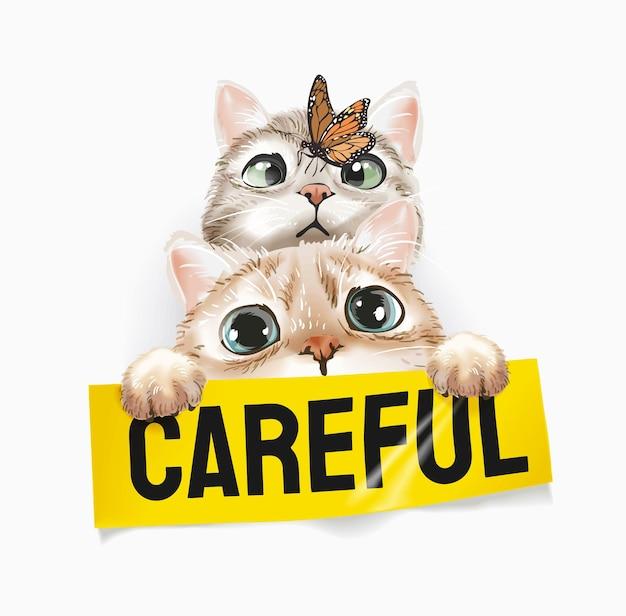 Słodkie koty z motylem trzymającym ostrożną ilustrację znak