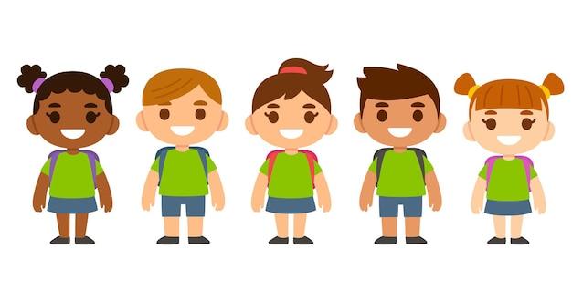 Słodkie kreskówki różnorodne dzieci noszące mundurek szkolny z plecakami