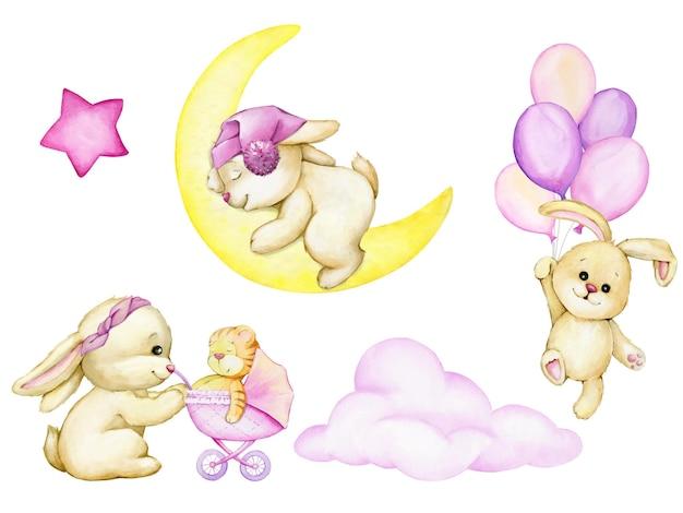 Słodkie króliczki latające na różowych balonach akwarela clipart w stylu kreskówki