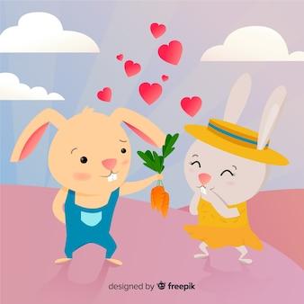Słodkie króliczki w kreskówce miłości