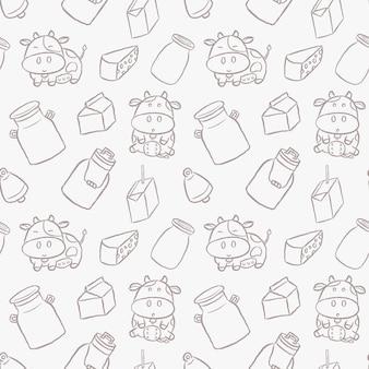 Słodkie krowy mleczne ręcznie rysowane kreskówki stylu wzór.