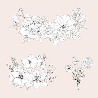 Słodkie kwiaty linii na białym tle. ręcznie rysowane bukiet