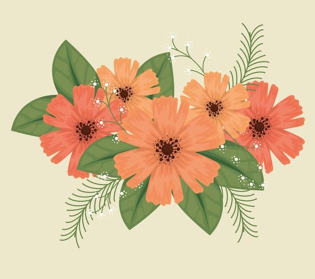Słodkie kwiaty z płatkami i liśćmi