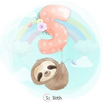 Słodkie lenistwo latające balonem alfabetu-s