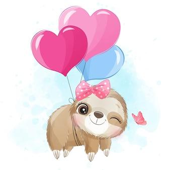 Słodkie lenistwo latające balonem