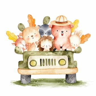 Słodkie leśne zwierzę na ilustracji akwarela samochodu