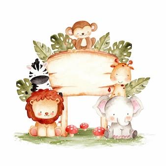Słodkie leśne zwierzę z ilustracji akwarela szablon znak drewna