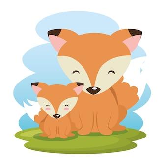 Słodkie lisy postaci ojca i syna