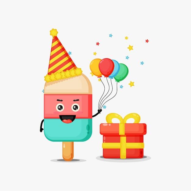 Słodkie lody maskotka na urodziny