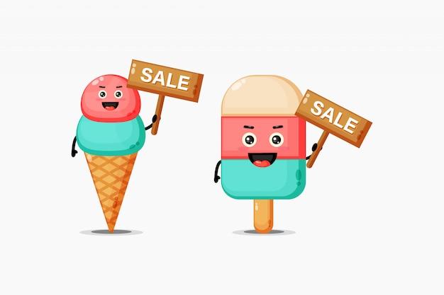 Słodkie lody są zadowolone ze znaku sprzedaży