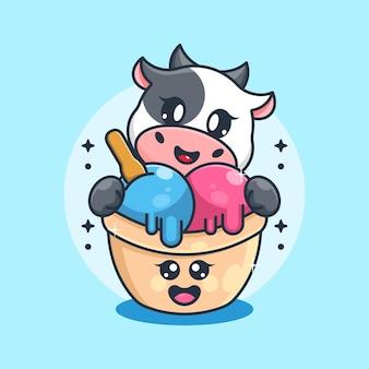 Słodkie lody z kreskówką krowy