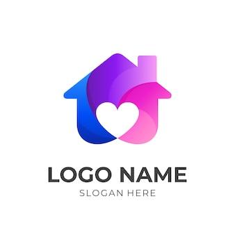 Słodkie logo domu, dom i miłość, połączenie logo z kolorowym stylem 3d