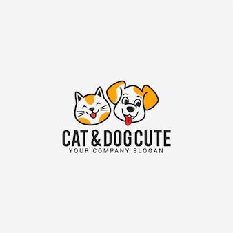 Słodkie logo kota psa