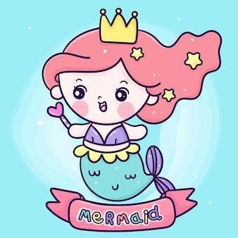 Słodkie logo księżniczki syreny trzymającej magiczną różdżkę kawaii zwierząt