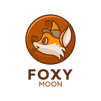 Słodkie logo księżyca lisa