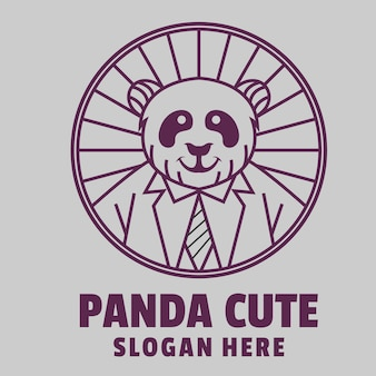Słodkie logo linii panda