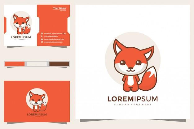 Słodkie logo lisa i wizytówka